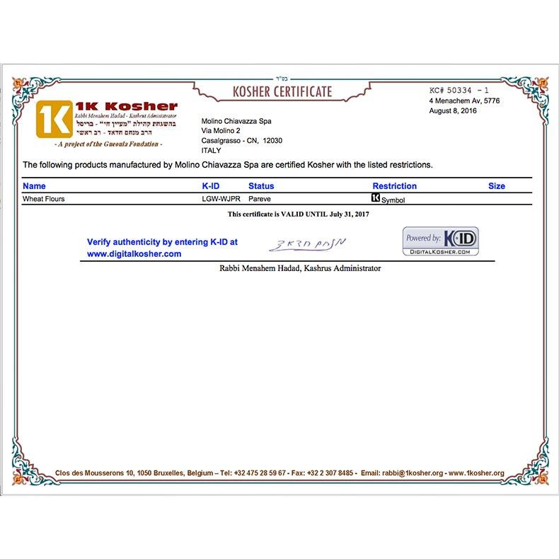 Certificazioni Molino Chiavazza